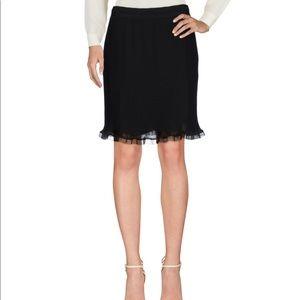 Carven Womens Mini Pleated Black Knee Pencil Skirt